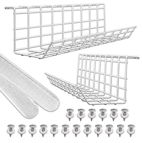 Schreibtisch Kabelkanal – Kabelhalter für Kabelordnung. Metallene Kabelbox für Büro und Zuhause (Weiß – Set von 2x 43cm)