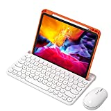 WYZDQ Silicone Case for Ipad Pro 11 Inch 2021 with Bluetooth Keyboard Holder, Convenient and Detachable Drop Protection Cover with Pen Holder and Mouse,Orange