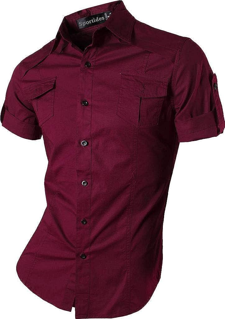 Sportides Men Casual Slim Fit Short Sleeve Button Down Dress Shirts JZS056