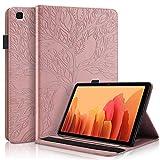 CaseFun Funda para Samsung Galaxy Tab A7 10.4 2020 T500/T505/T507 Árbol de la Vida Carcasa Cover Soporte Múltiple Ángulo y Bolsillo de Documento, Oro Rosa