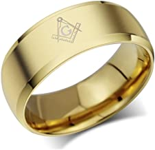 ANAZOZ Customize Stainless Steel Rings for Men Wedding Rings Freemason Symbol Gold