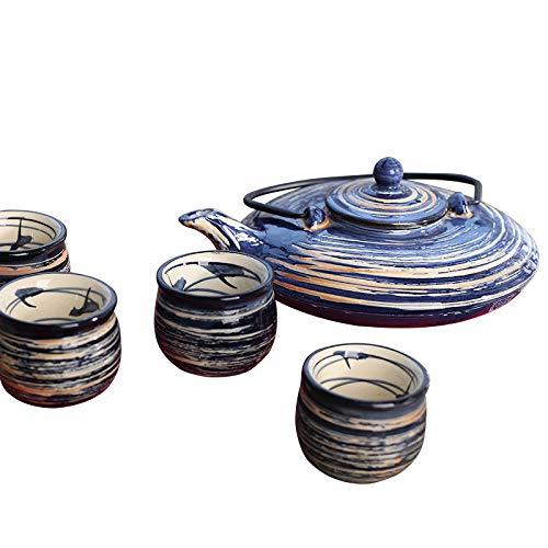 Panbado Set 5 Pezzi, Set da tè Servizo da Teiere e Caraffe per caffè in Porcellana Ceramica Kungfu da Viaggio Portatile Vintage Stile Giapponese, Blu