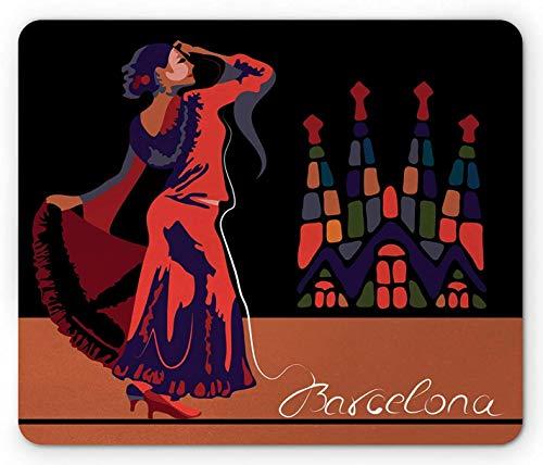 Alfombrilla de ratón española, Bailarina Tradicional en la Ciudad de Barcelona con Arquitectura histórica Vibrante, Alfombrilla de Goma Antideslizante Rectangular de tamaño estándar, Multicolor