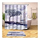 Daesar Fußmatten Badezimme 40x60 Storch & Lebensbaum 90x180 cm Duschvorhang Antischimmel, Badematte 2 Teilig