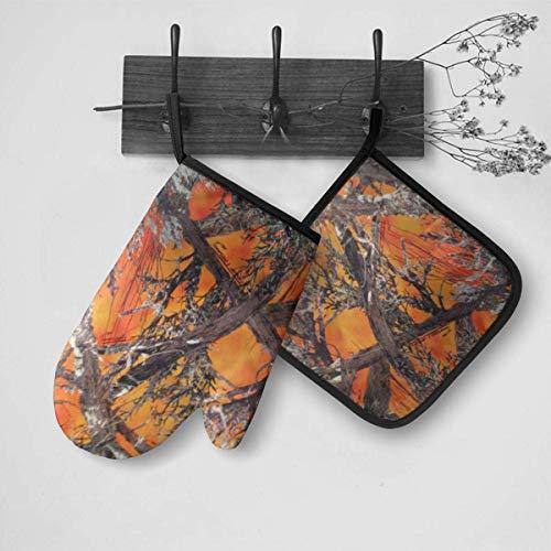 Pag Crane Orange Camo Ofenhandschuhe und Topflappen Set zum Grillen Kochen Backen Grillen OMT-038