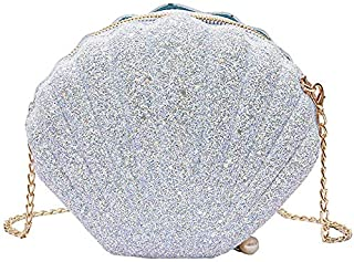 TOOGOO Women Girls Little Mermaid Seashell Purse Cross-Body Shoulder Bags Glitter Sequins Chain Evening Purse, White