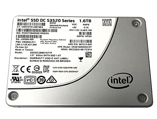 HP 867213-005 Intel DC S3520 Series 1.6 TB 2.5 pulgadas 7 mm SATA III MLC (6.0 Gb/s) Unidad interna de estado sólido (SSD) SSDSC2BB016T7P / (HP Modelo VK001600GWCNT) – Nuevo OEM con 5 años de garantía