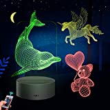 Huaker 3D Night Light for Kids, 3D Illusion Lamp Different 3 Pattern and 7 Color Change Decor Lamp with Touch & Remote Control for Best Birthday for Girls Boys (Black)