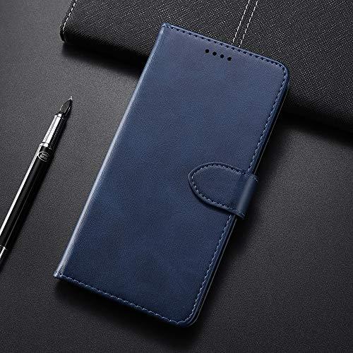 Wckxy HNZZ, Ternero Textura Horizontal Flip Funda de Cuero for Samsung Galaxy M20, con el sostenedor y Ranuras for Tarjetas y Monedero (Color : Blue)