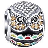 Truly Desired Jewellery – Abalorio de búho colorido, plata de ley 925, juego con gemas de circonita cúbica. Incluye caja de regalo. Compatible con pulseras Pandora, Chamilia y Trollbeads.
