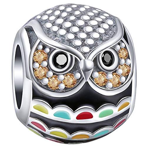 Truly Desired Jewellery - Abalorio de búho colorido, plata de ley 925, juego con gemas de circonita cúbica. Incluye caja de regalo. Compatible con pulseras Pandora, Chamilia y Trollbeads.