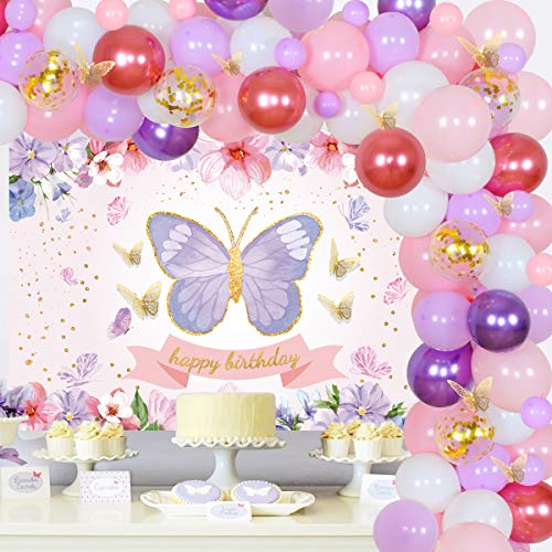 Butterfly Birthday Party Decorations Butterfly Balloon Garland Arch Kit Garden Spring Floral Birthday Party Supplies for Girls Happy Birthday Backdrop with Pink Purple Gold Confetti Balloons