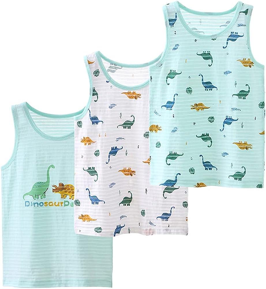 LittleSpring Little Boys Slub Cotton Tank Tops Summer Sleeveless 3-Pack