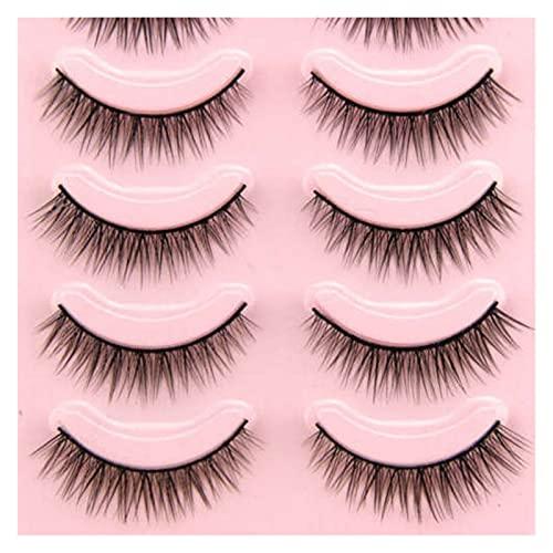 HUBAN 5 Pares Populares Naturales Cortos Cortos Falsos pestañas Daily Eye Lashes Niñas Maquillaje Necesario