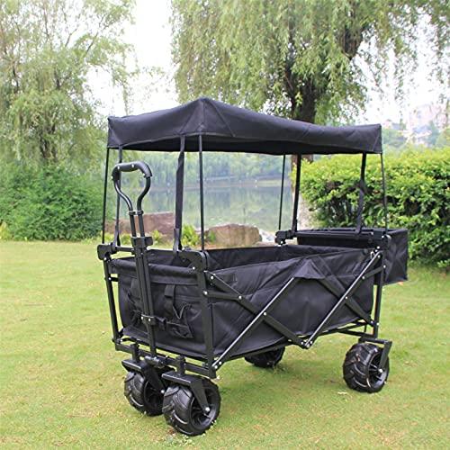 QJHP Práctica Carretilla de jardín de Acero, Vehículo de jardín para Acampar al Aire Libre Plegable Resistente con Ruedas universales y manija Ajustable,Negro