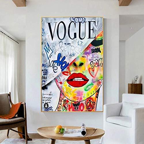 ZLARGEW Pop Art Love Vogue Donna Pittura su Tela Modern Street Art Poster e Stampe Immagini da Parete per Soggiorno Decorazione Domestica - 50x70cm Senza Cornice