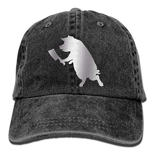 Schwein mit Metzger Trend Printing Cowboy Hut Fashion Baseball Cap für Männer und Frauen schwarz