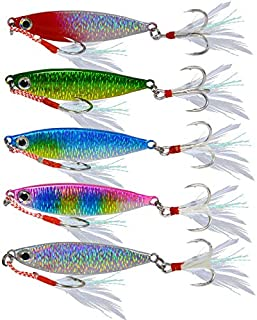 DOITPE 5PCS Fishing Jigs Sinking Fishing Lures Sinking Fish Baits Long Casting Swimbait CrankBait Lures for Bass,Pike,Trout,Walleye,Musky