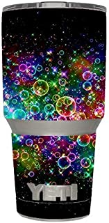 Skin Decal Vinyl Wrap (6-piece kit) for Yeti 30 oz Rambler Tumbler Cup / Rainbow bubbles