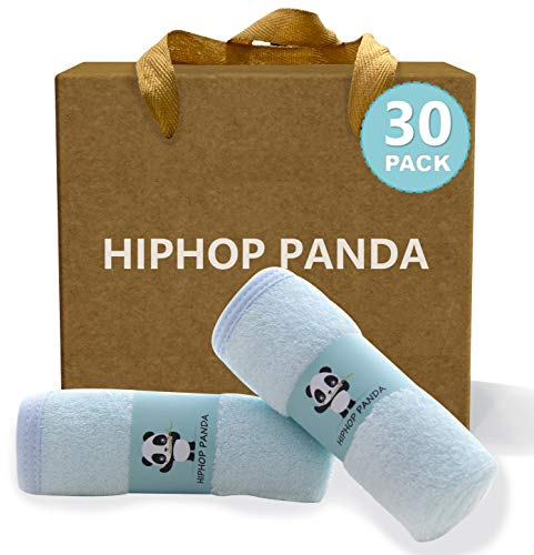 HIPHOP PANDA Bamboo Baby Washcloths,30 Pack (Blue) - 2 Layer Ultra Soft Absorbent Bamboo Towel - Natural Reusable Baby Wipes for Delicate Skin - Baby Registry as Shower