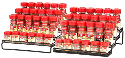 4 Tier Expandable Spice Rack Organizer for Cabinet 115 to 23 Inch Step Shelf Spice Storage Holder for Kitchen Countertop Cupboard Pantry