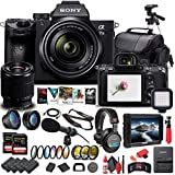 Sony Alpha a7 III Mirrorless Digital Camera with 28-70mm Lens (ILCE7M3K/B) + 4K Monitor + Headphones + Pro Mic + 2 x 64GB Memory Card + 3 x NP-FZ-100 Battery + Corel Photo Software + More (Renewed)