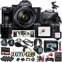 Sony Alpha a7 III Mirrorless Digital Camera with 28-70mm Lens (ILCE7M3K/B) + 4K Monitor + Headphones + Pro Mic + 2 x 64GB Memory Card + 3 x NP-FZ-100 Battery + Corel Photo Software + More (Renewed)