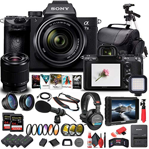 Sony Alpha a7 III Mirrorless Digital Camera with 28-70mm Lens (ILCE7M3K B) + 4K Monitor + Headphones + Pro Mic + 2 x 64GB Memory Card + 3 x NP-FZ-100 Battery + Corel Photo Software + More (Renewed)