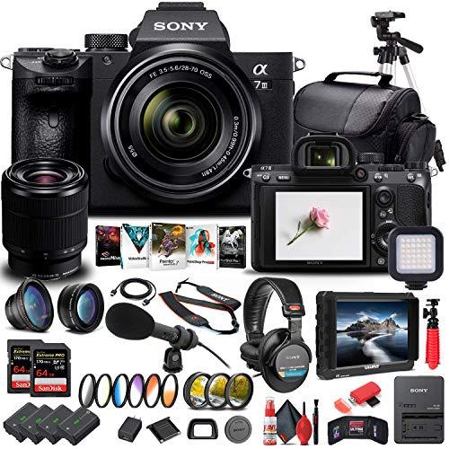 Sony Alpha a7 III Mirrorless Digital Camera with 28-70mm Lens (ILCE7M3K/B) + 4K Monitor + Headphones + Pro Mic + 2 x...