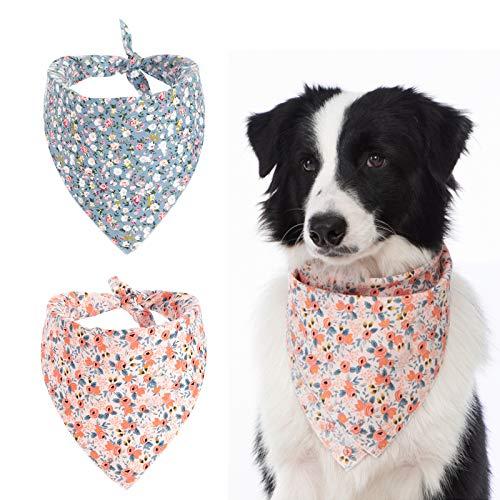 HACRAHO Lot de 2 bandanas triangulaires pour chien - Motif floral - Pour chiots et petits chiens