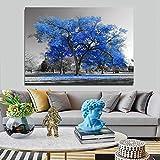 KWzEQ Moderno y Hermoso árbol Grande Pintura en Blanco y Negro Sala de Estar Lienzo impresión Cartel decoración Pintura,Pintura sin Marco,80X120cm