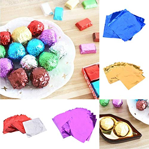 BLOUR 100pcs 8x8cm DIY Lebensmittel Aluminiumfolien Papier Praline Verpackung 4 Farben Party Geburtstag Wrapper Folie Papieraufkleber