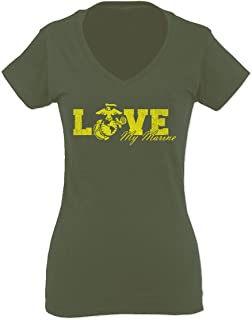 Love My Marine USMC United States of America USA American Mother Gift for Women V Neck Fitted T Shirt