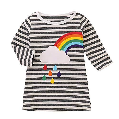 MEIbax Schwester Gestreift Regenbogen-Druck Party Kleid Kleidung Langarm T-Shirt Kleid Infant Kleinkind Baby Mädchen