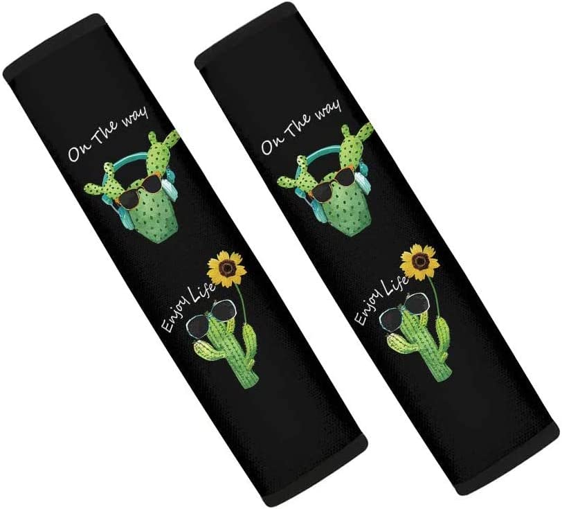 HUGS IDEA Universal Car Seat Belt Pad Cover Kit 2 Pack Tropical Cactus Sunglasses with Sunflowers Design Soft Car Safety Seatbelt Strap Shoulder Pad for Adults and Children