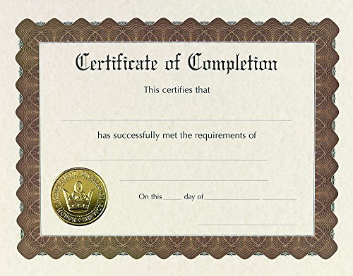 """Great Papers! Certificate of Completion, Pre-Printed, Gold Foil, Embossed, 8.5"""" x 11"""", 6 Count (930400)"""