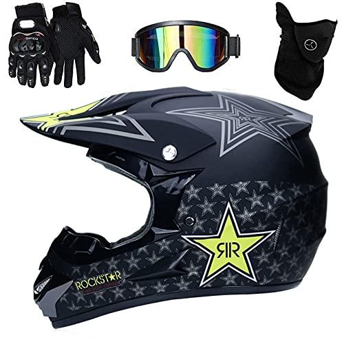 WAHA Casco Descenso Hombre,Negro/Rockstar - Adulto Casco Motocross Enduro MTB con Gafas/Máscara/Guantes, Casco Cross Quad Off Road ATV Scooter,L(56~57Cm),L
