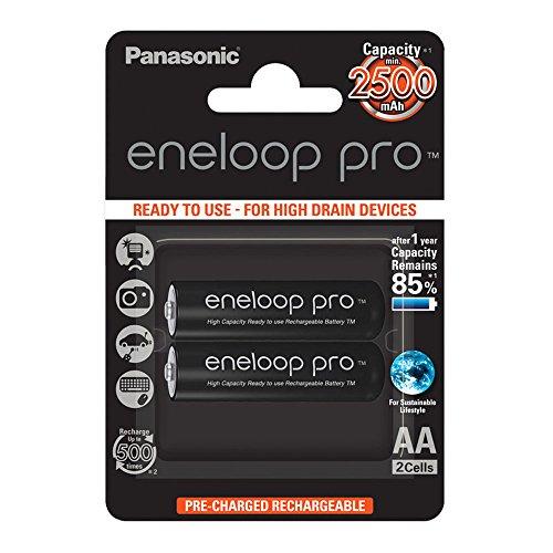 Panasonic eneloop pro, Ready-to-Use Ni-MH Akku, AA Mignon, 2er Pack, min. 2500 mAh, 500 Ladezyklen, mit extrastarker Leistung & geringer Selbstentladung, wiederaufladbare Akku Batterie, Akkubatterie