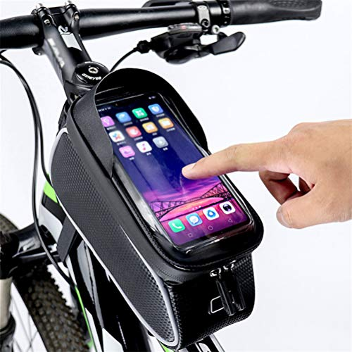 LA-BOOR Cycling Bag Black 6.0'' Touch Screen Phone Bag Bicycle Top Frame Front Holder Bike Front Tube Storage Pack Waterproof