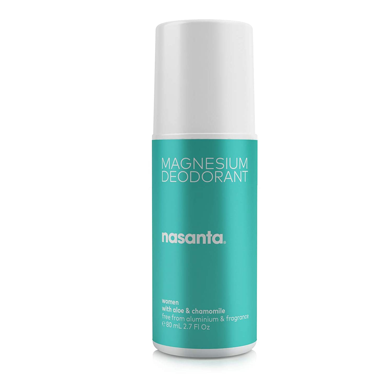nasanta Magnesium Deodorant for Women with Aloe & Chamomile - Australian Made Natural Deodorant, 100% Free of ALL Forms of Aluminum, 100% Unscented, 80 mL 2.7 Fl Oz Roll On : Beauty