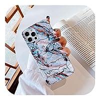 ゲスト For iPhone 12 Pro 11 Pro Max X XR XS 7 8 6 6sPlusカラフルなソフトIMDシリコンバックカバー用大理石石テクスチャ電話ケース-2058-For iPhone 11 Pro