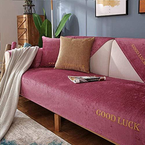 JXJ Moderne Chenille einfarbige Sofabezug Anti-Rutsch-Sofabezug Sofabezug für Hunde Katzen Pet Love Seat Recliner Armlehne Rückenlehne, rot, 70 * 240 cm