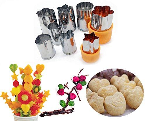 Cortador de verduras y frutas, cortador de galletas y galletas de acero inoxidable, forma de estrella, acero inoxidable, Fruit cutter 8PCS