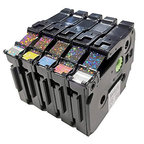 Upwin - Nastro di ricambio per etichettatrici Brother P-Touch TZe-231 TZe-131 12 mm, nero su bianco/rosso/blu/giallo/verde, confezione da 5