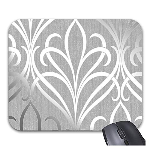Mouse Pads Wave Damask Soft Grey Silver Non-Slip Rubber Gaming Mouse Mat Desk Accessories & Workspace Organizers
