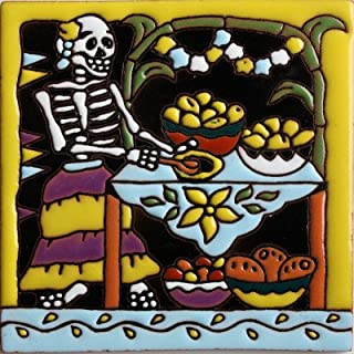 Fine Crafts Imports 6x6 Cooking. Day-of-The-Dead Clay Tile