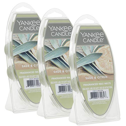 Yankee Candle Sage & Citrus Wax Melts, 3 Packs of 6 (18 Total)