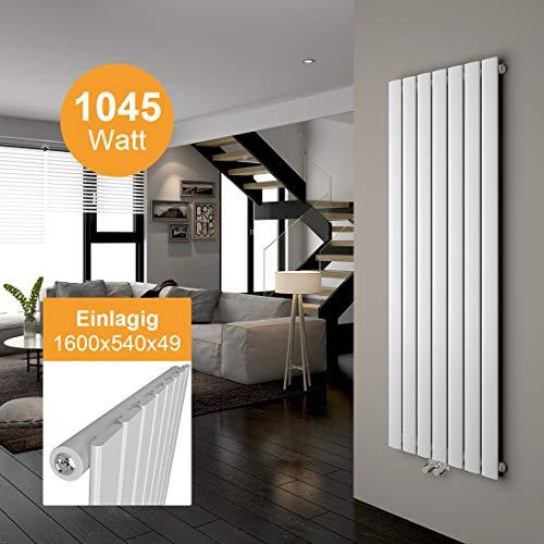 Design Flach Heizkörper Design Vertikal Paneelheizkörper 1600 x 540 mm Weiß Flach Einreihig Mittelanschluss Heizung