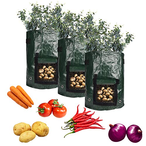 YSBER Potato Grow Bags 3 Pack 7 Gallon Thickened PE Material Garden Plant Grow Bag with Handles and Flap. (7 Gallon, 3 Pack)