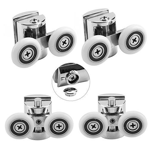 MultiWare Lot de 4 roulettes Doubles - pour Porte de Douche Coulissante, À 2 Roues de 23 mm de Diamètre en Alliage de Zinc Salle de Bain